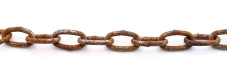 Rusty whole chain isolated on a white background.