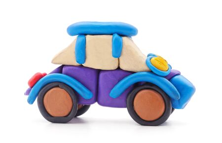 One plasticine car isolated on a white background.