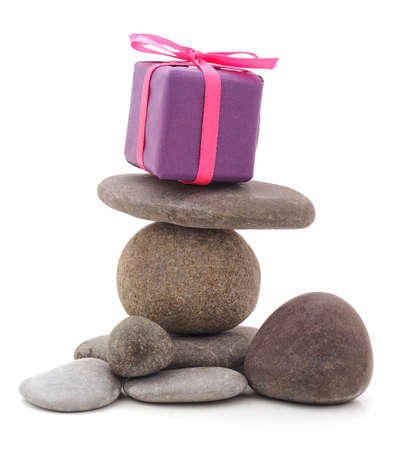 Present on the stones isolated on a white background.