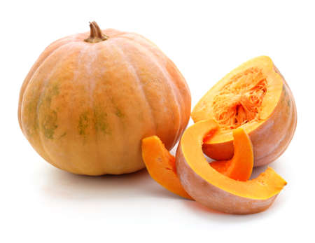 Pumpkin and slices isolated on a white background.