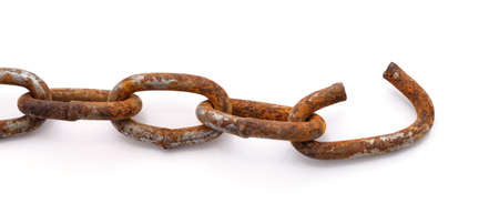 Torn rusty chain isolated on a white background. 写真素材