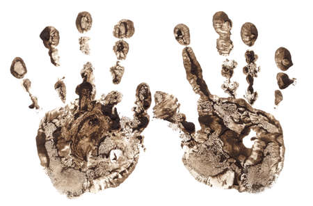 Two dirty handprints isolated on a white background.