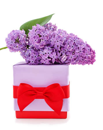 Purple lilac flower and gift isolated on a white background. Standard-Bild
