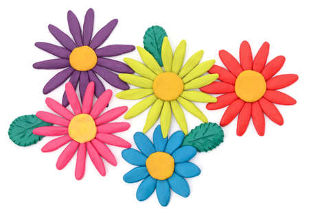 Plasticine flowers with leaves isolated on a white background.