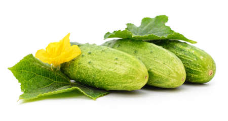 Bunch of cucumbers isolated on a white background.