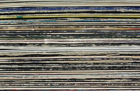 record shop: Stack of Old Vinyl Collection Paper Covers