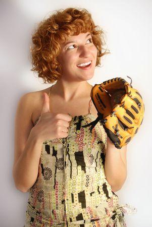 guante beisbol: chica con guantes de b�isbol Foto de archivo