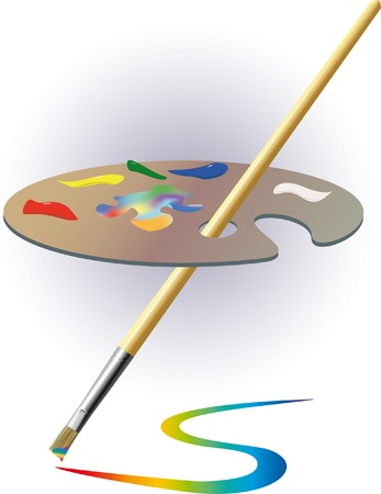 Palette and brush. A vector illustration.