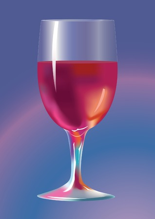 Wine-glass with a red wine. A vector illustration. Illustration