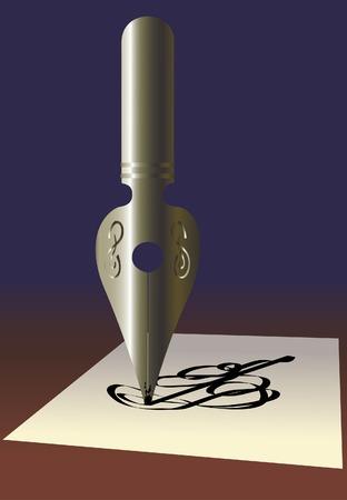 Old pen. A vector illustration. Illustration
