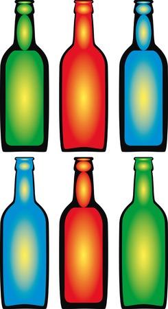 bottles. color.art. a vector illustration.