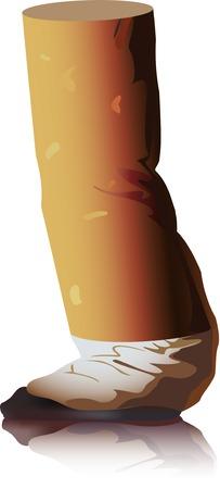 cigarette. ash. a vector illustration.