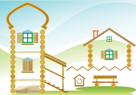 THE IMAGE OF THE COUNTRY HOUSE IN THE FORM OF CONSTRUCTIVE MAKING ELEMENTS. Vector