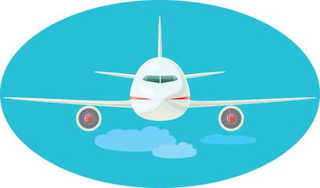 The jet plane flying over clouds. a vector illustration Illustration