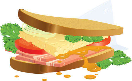 mustard plant: The sandwich prepared during a short break on advertising. A vector illustration