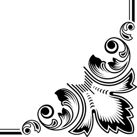 floral elements. vectorized scroll design. color as you wish