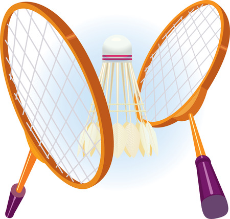 Two rackets for badminton with a shuttlecock in game position. vector. illustration