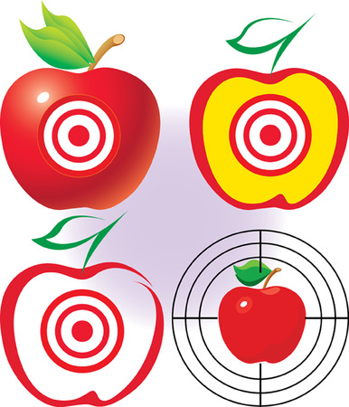 Apple as a target. be on target. vector. illustration