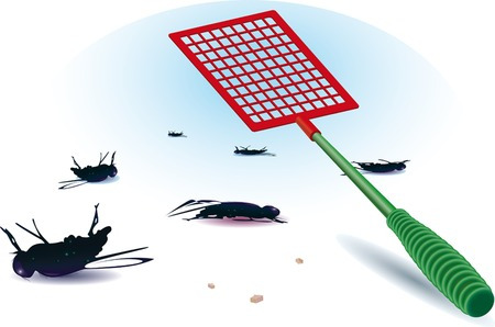 dead fly. flattened out. tool.  vector illustration.