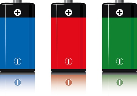 batterys.three. isolated on white. reflection. a vector illustration Illustration