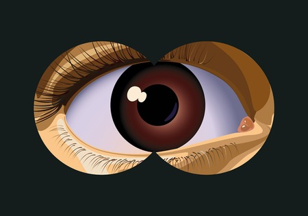 opened eye: To look in the field-glass approximately the person. A vector illustration.