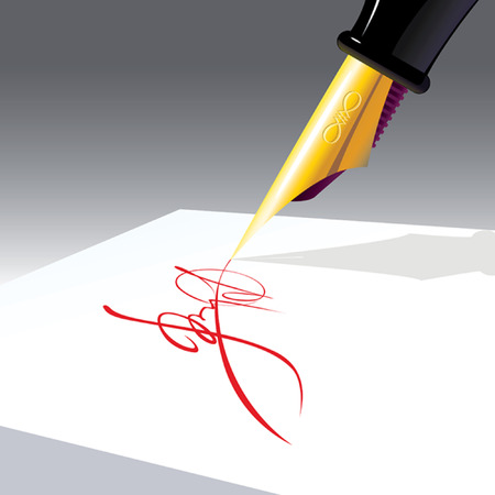 autographing:  resolution, business signature of approval, color ink on white paper