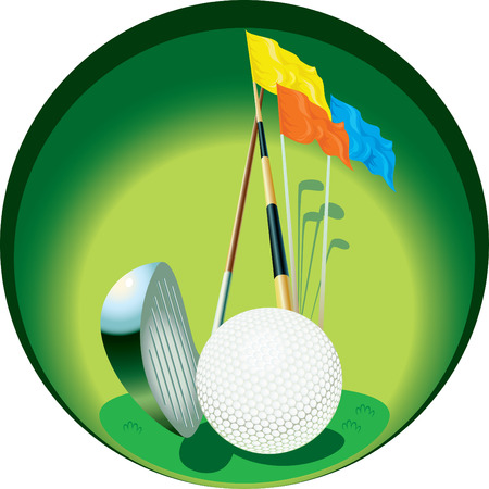 The image of  inventory for game in a golf, placed in a circle.