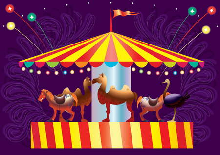 Attraction a roundabout. artificial animals. vecttor. illustration Illustration