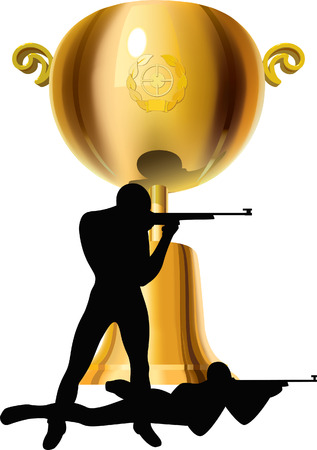 The big gold cup for a victory in competition on shooting.  Illustration