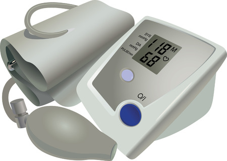 stress test: The medical device for blood pressure and pulse measurement Illustration