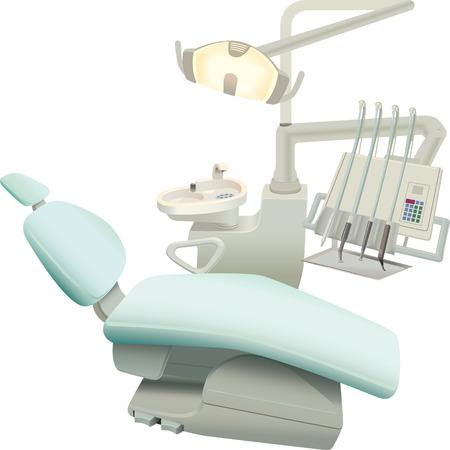 sillon dental: sill�n del paciente y el equipo necesario para el dentista Vectores