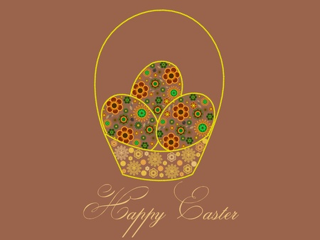 easter greeting card with a basket with eggs Vector