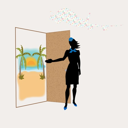 scarf beach: the stewardess invites in travel  the plane on a background  behind a door the tropical island Stock Photo