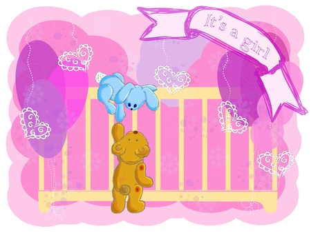 births: the bear and the hare climb in a cot to look at the newborn child