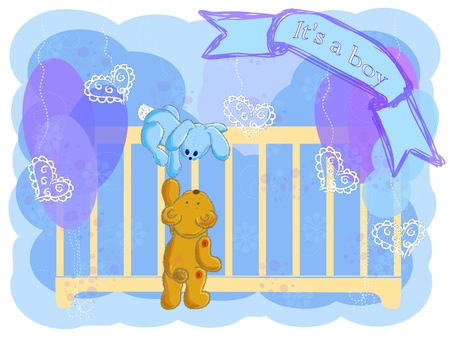 the bear and the hare climb in a cot to look at the newborn child Stock Photo - 12992115