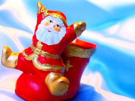 rejoices: Santa Klaus rejoices to a holiday Stock Photo