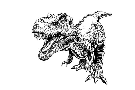 Graphical sketch of raptor isolated on white background, illustration