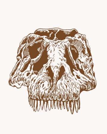 Graphical vintage skull of dinosaur with long sharp teeth, sepia background, vector illustration