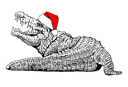 Graphical crocodile in Santa Claus hat isolated on white background, new year illustration
