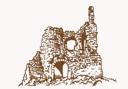 Graphical vintage kalamite fortress, sepia background, Inkerman,Crimea