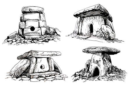 Graphical set of dolmens on white background,vector ruins