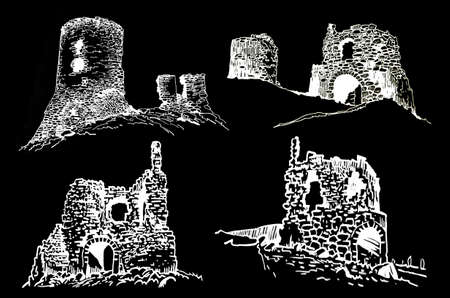 Graphical set of ruins of Crimea isolated on black background. Vector illustration Vettoriali