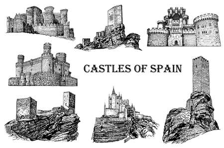 Graphical castles of Spain on white background, vector architecture