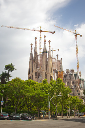 BARCELONA  La Sagrada Familia - the cathedral designed by Gaudi, which is being build since 19 March 1882 and is still under construction as of June,13 2014 in Barcelona, Spain