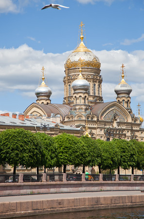 lieutenant: St. Petersburg. A view from Neva on church of the Dormition of the Theotokos and Lieutenant Schmidt Embankment