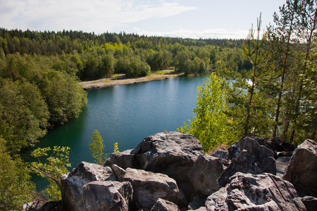 karelia: Republic of Karelia. Mountain park Ruskeala. Italian marble pit.