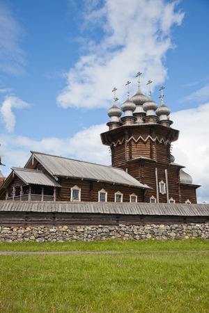 Karelia. Island of Kizhi. View of Church of the Intercession of the Virgin and Preobrazhenskii Cathedral (Church of the Transfiguration). Stock Photo