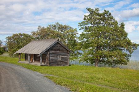Karelia. Island of Kizhi. Ensemble of Kizhi Pogost and objects of wooden architecture. Stock Photo