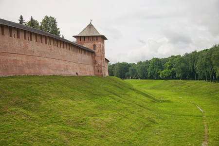 ditch: Veliky Novgorod. View of the Kremlin wall, ditch and towers.