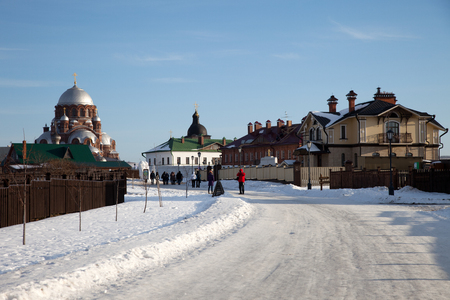 Sviyazhsk. Ioanno-Predtechensky Womens Monastery. Trinity Church and the Cathedral of Our Lady of Joy of All Who Sorrow. Tatarstan. Russia.